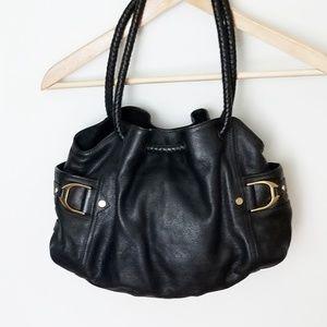 Cole Haan Denney black leather saddle shoulder bag